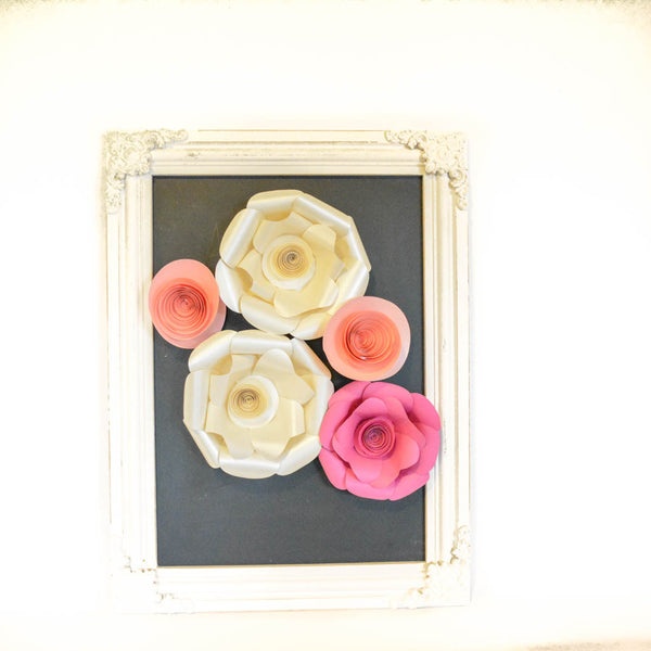 Pink and Cream Paper Flowers, set of 5