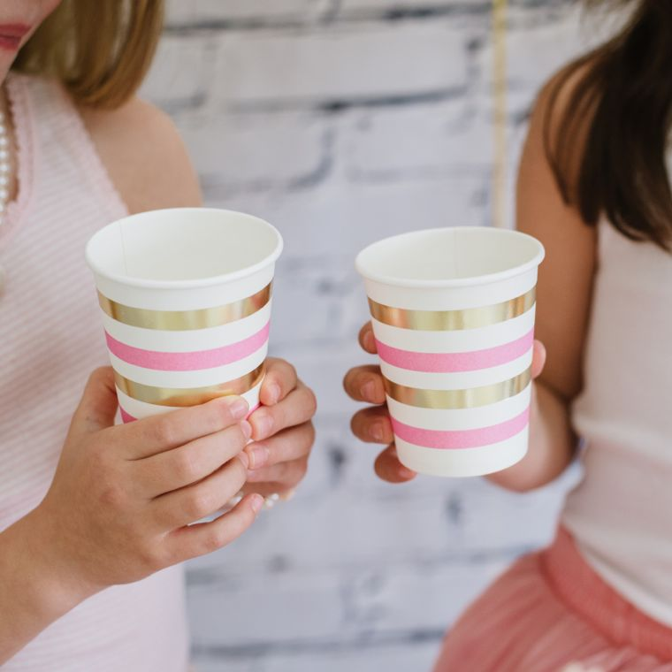 pink and gold cups