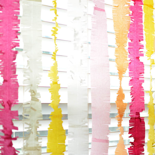 Step up your party decor with theses adorable fringed paper streamers.  Hang, drape, twist or hang them from balloons.....these are so cute in every way!  We offer a variety of colors allowing you to seamlessly coordinate all your decor.    Sold individually, each streamer measures is aprox. 9.5 ft. long and comes ready for you to decorate with!