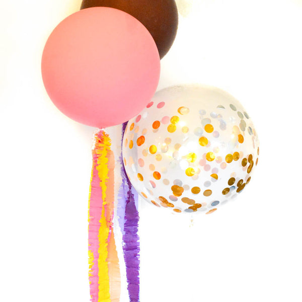 fringed streamers on balloons