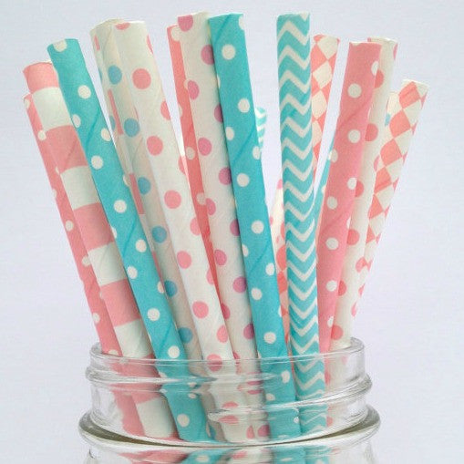 Gender Reveal Polka Dot Straws
