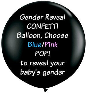 Gender Reveal Confetti Balloon, 36 in. Jumbo Black Balloon filled with your choice of Pink or Blue Tissue Paper Confetti