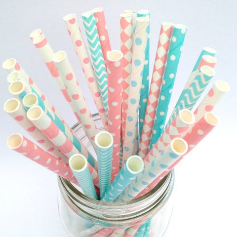 Gender Reveal Polka Dot Straws, Pink and Blue Patterned Straws