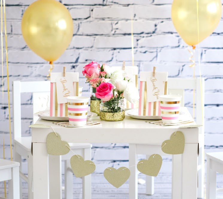 pink and gold party bags