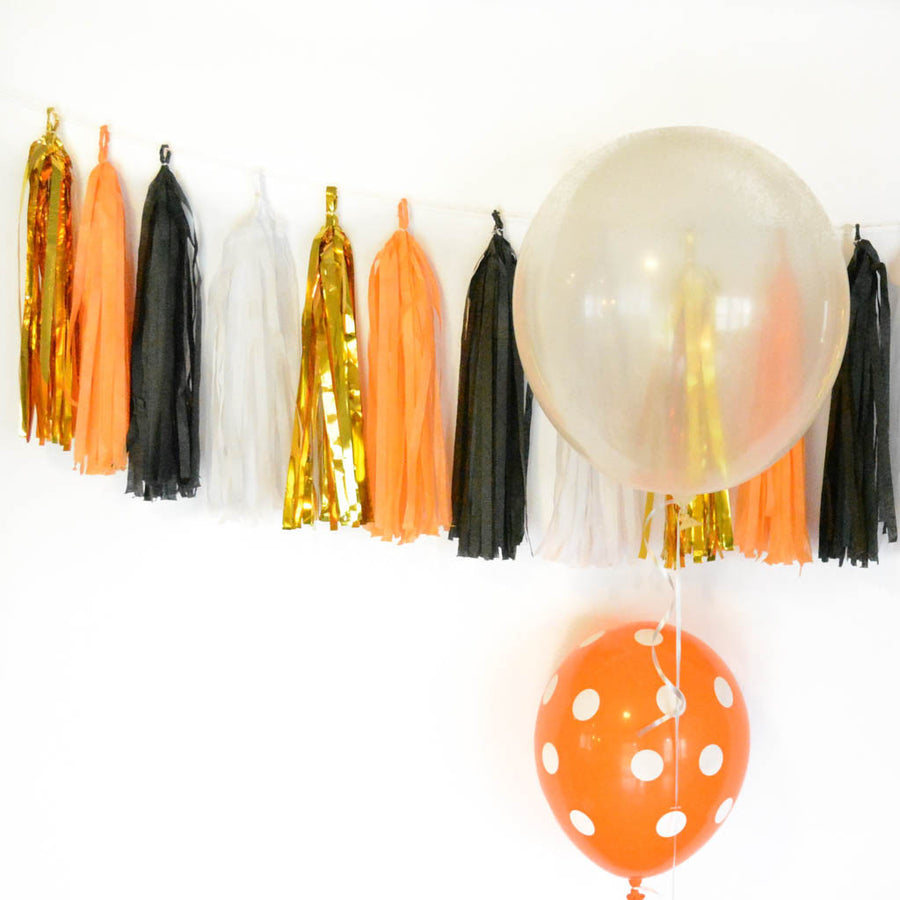 halloween garland black orange white gold