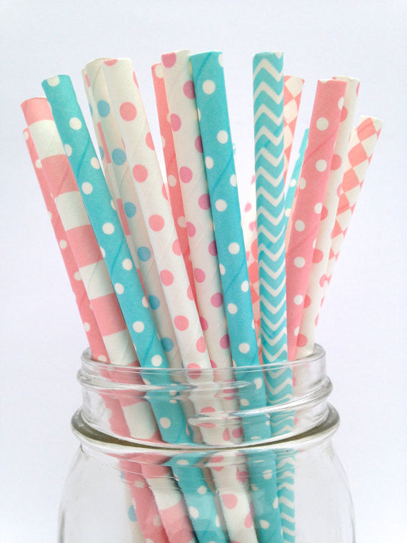 Gender Reveal Polka Dot Straws,