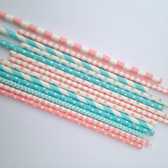 Pink and Blue Patterned Straws