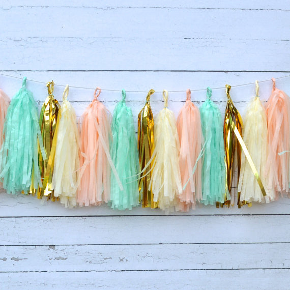 Alice, Peach Mint Gold Tissue Tassel Garland Kit
