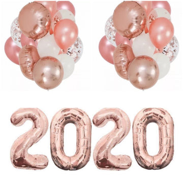 2020 rose gold balloons