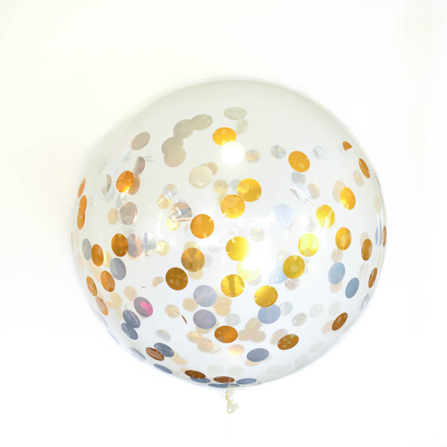 Gold and Silver Confetti balloon