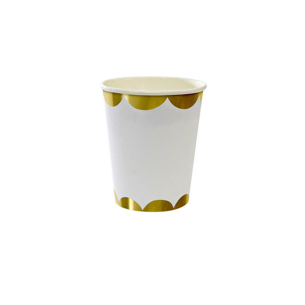 gold scallop paper cups