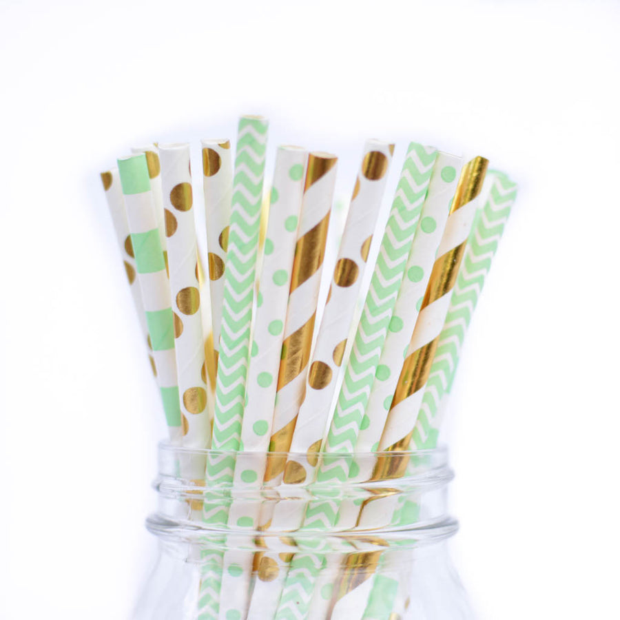 mint green straws with gold