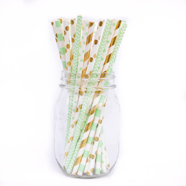 mint and gold paper straws