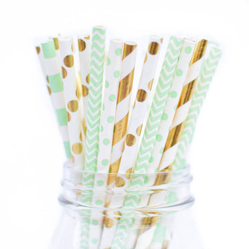 mint metallic gold straws