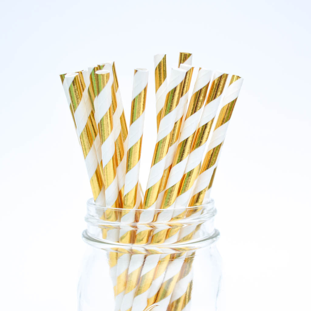 metallic gold straws