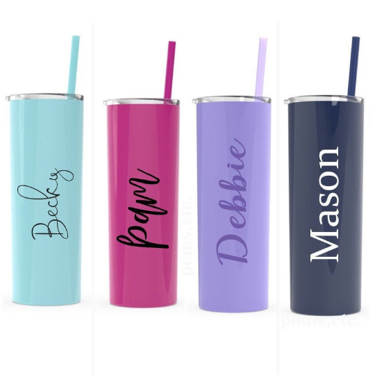 Personalized Stainless Steel Cup with Straw
