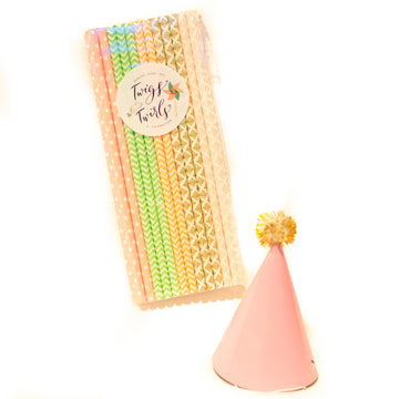 Mia: Vintage Chic Paper Straws, Peach, Mint, Gold and Pink Prints