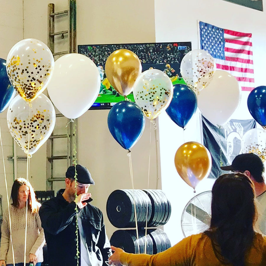 Navy Blue and Gold Balloon Bouquet