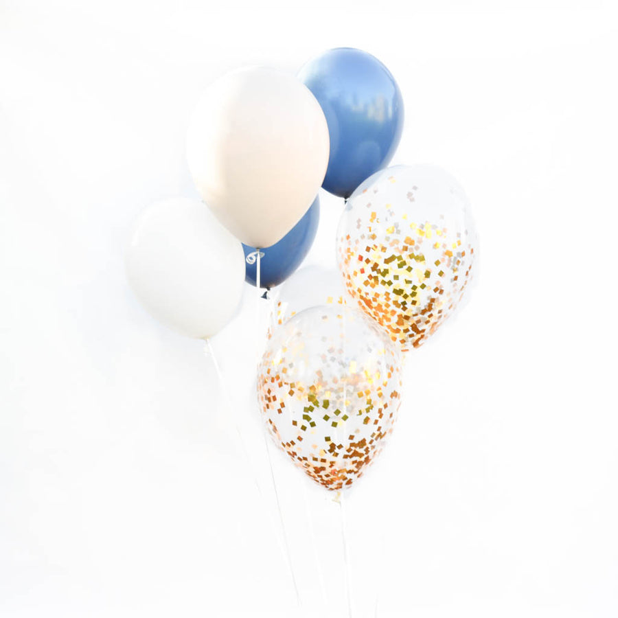 navy and gold balloons