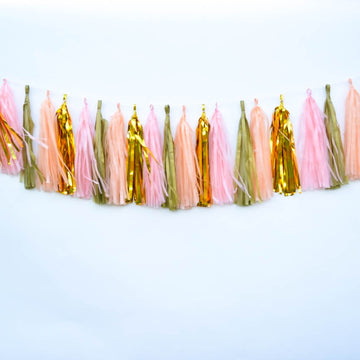 Peach and Gold Tissue Tassel Garland