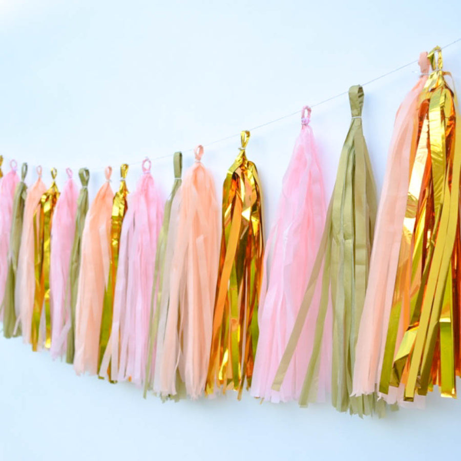Peach tissue tassel garland