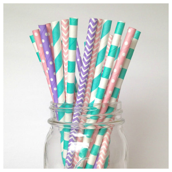 pink turquoise straws