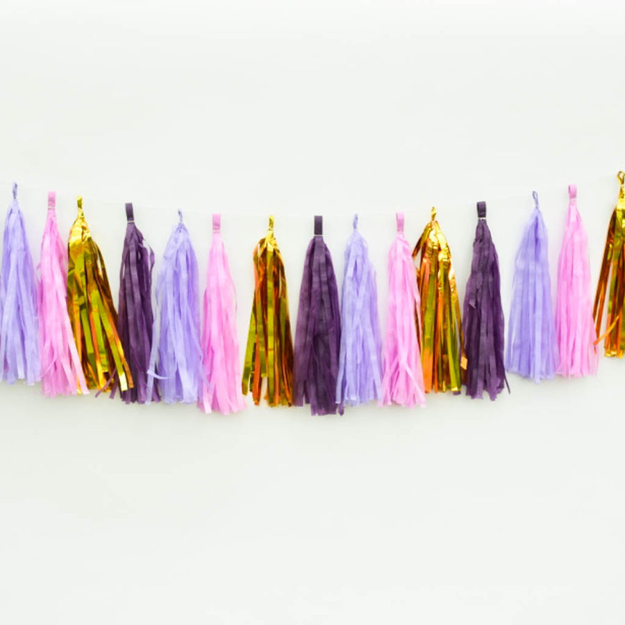 purple gold garland