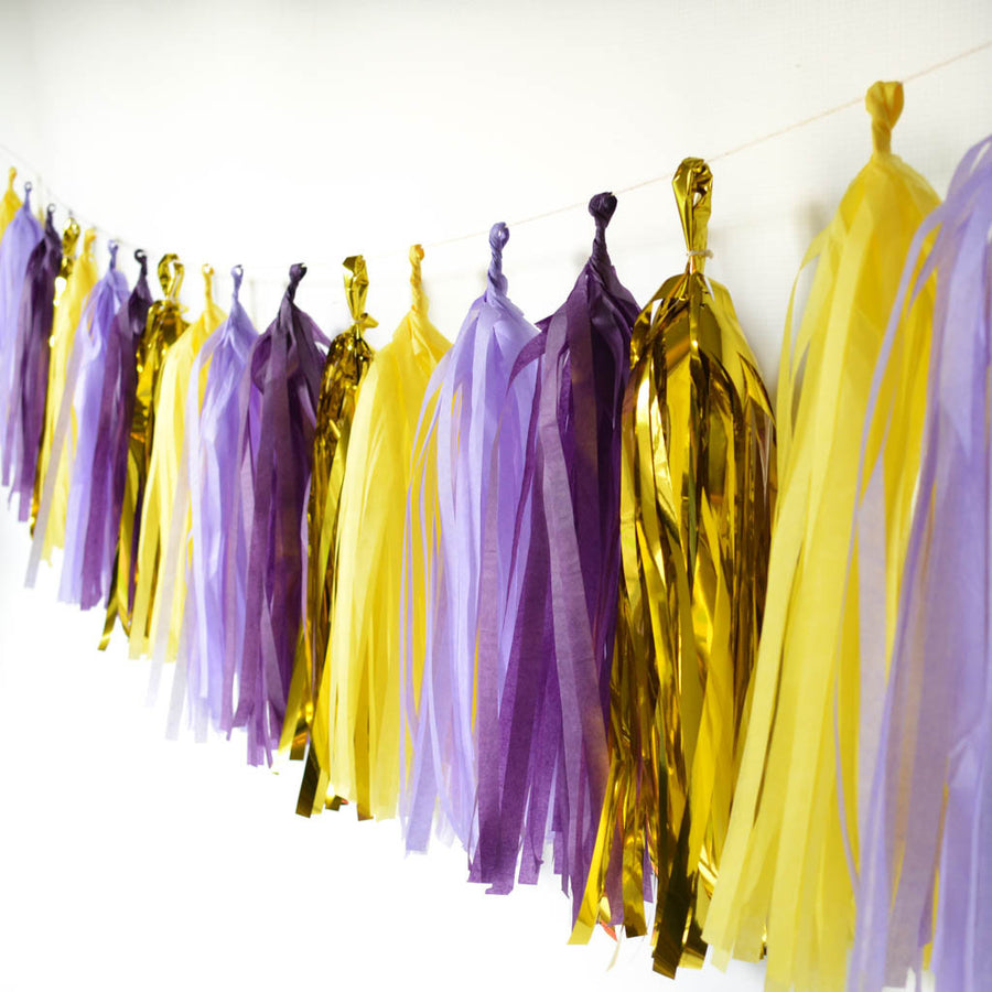 purple yellow tassel garland
