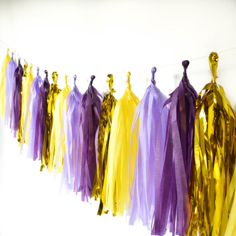 purple and gold tassel garland