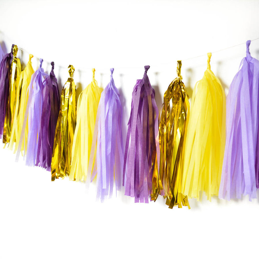 purple tissue tassel garland
