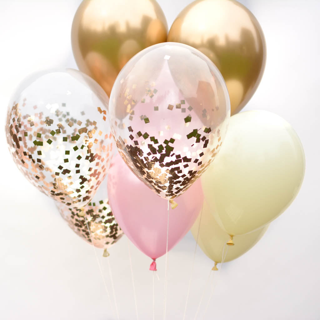 Valentine S Day Decorations Rose Gold Confetti Balloon Bouquet Cupcakes And Kisses