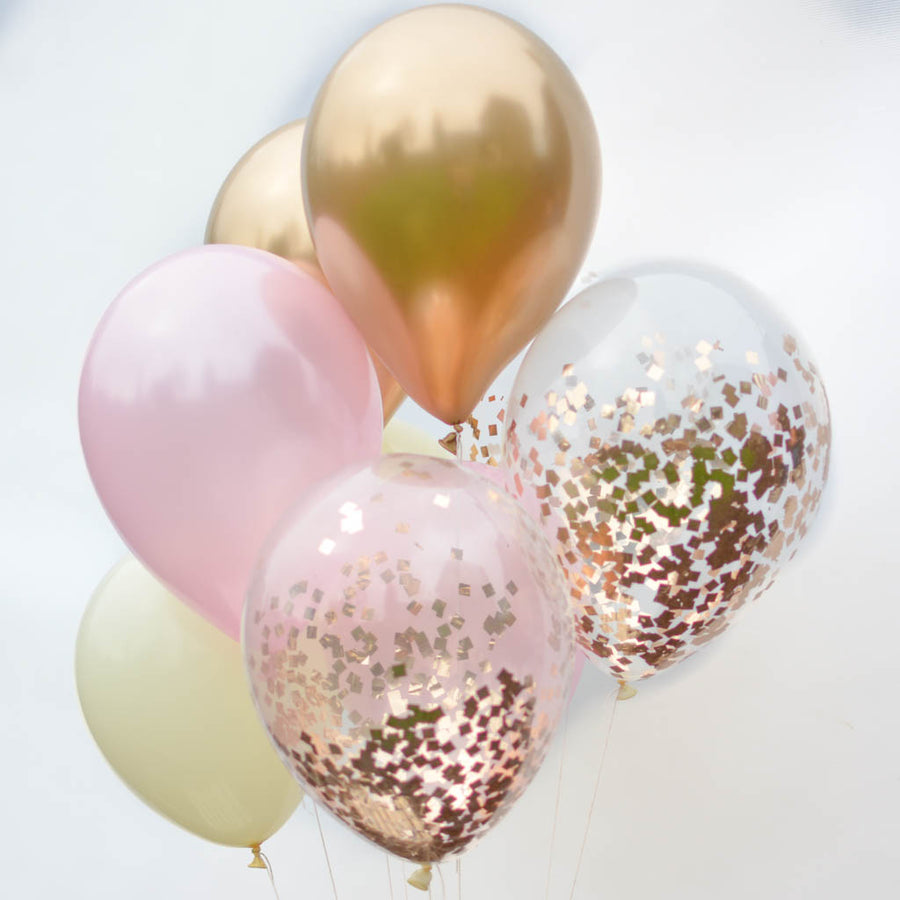rose gold confetti balloons