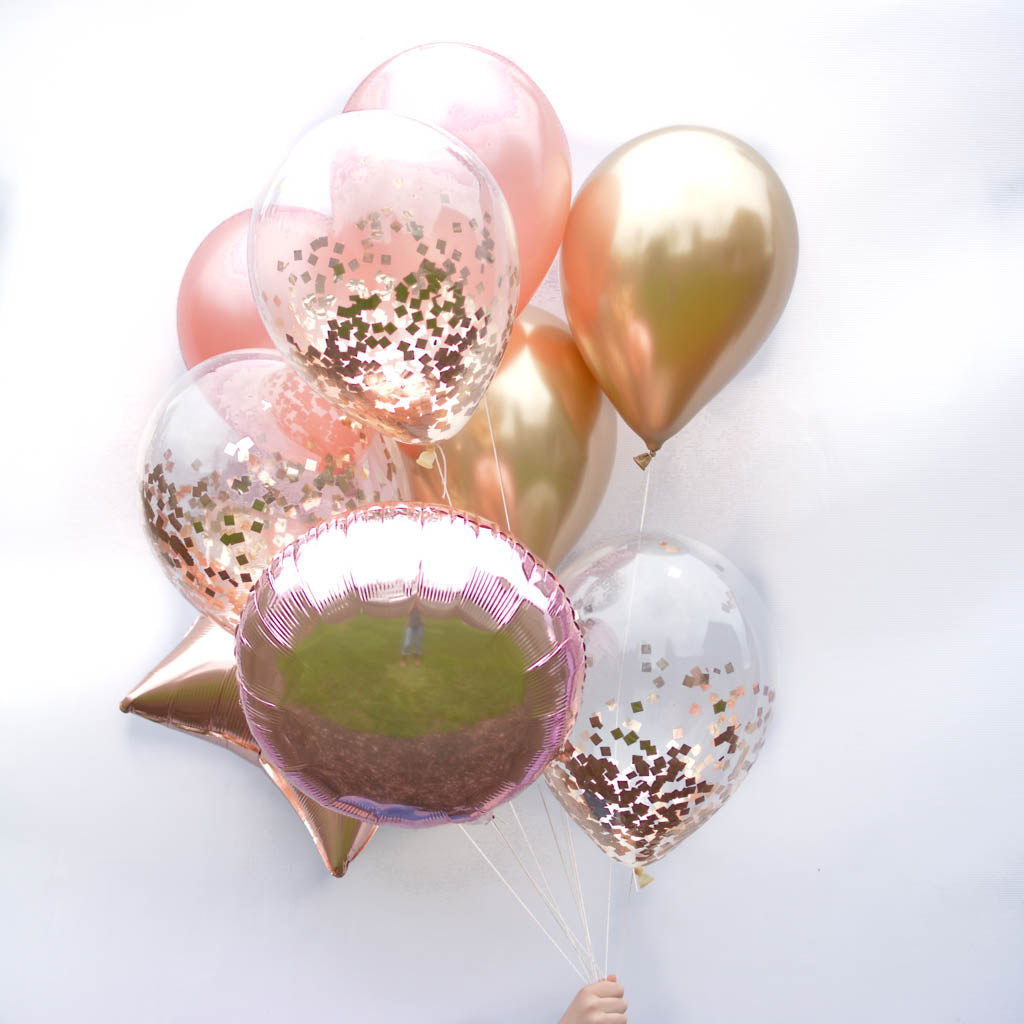 Bombshell Rose Gold Balloon Bouquet 11 In Latex And Foil Balloons