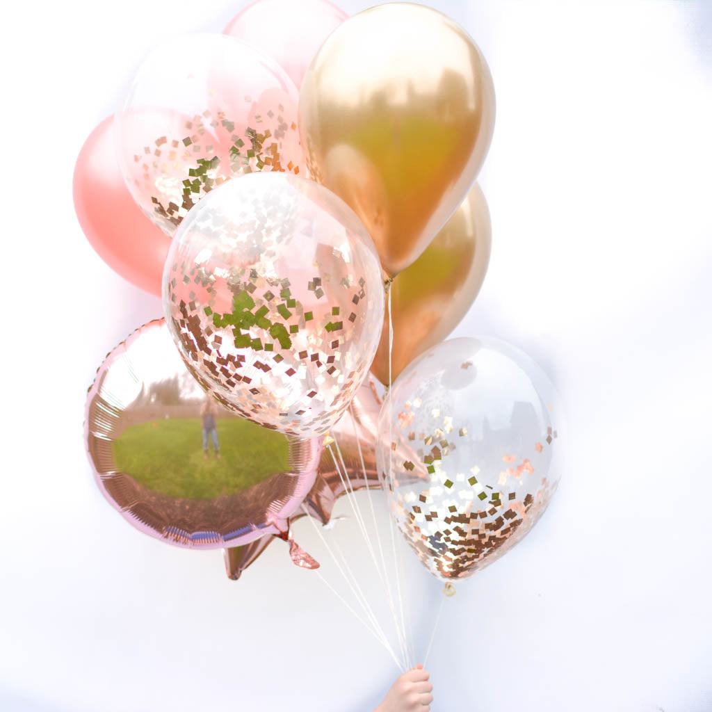 Bombshell rose gold balloon bouquet 11 in latex and foil balloons rose gold balloons izmirmasajfo