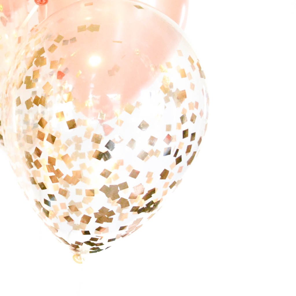 Gold confetti balloons for Decoration maison rose gold