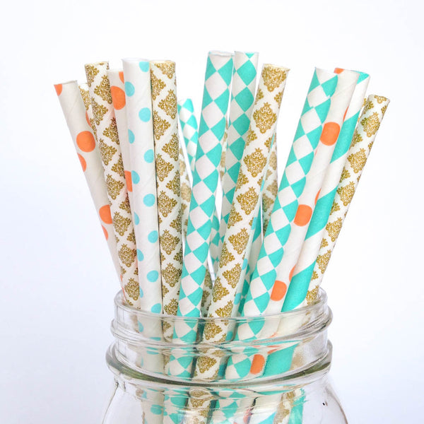 turquoise gold coral straws
