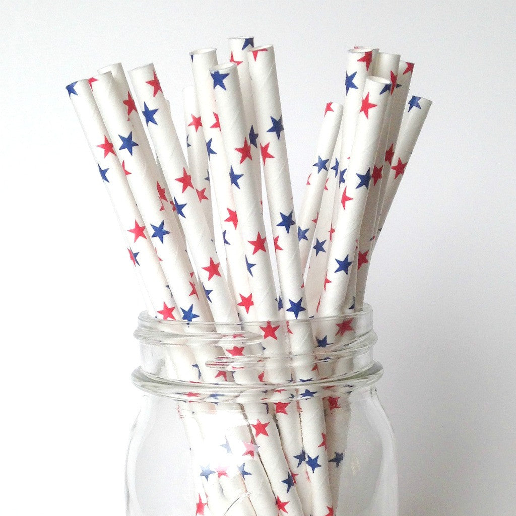 Stars 4th of July Paper Straws Red White and Blue