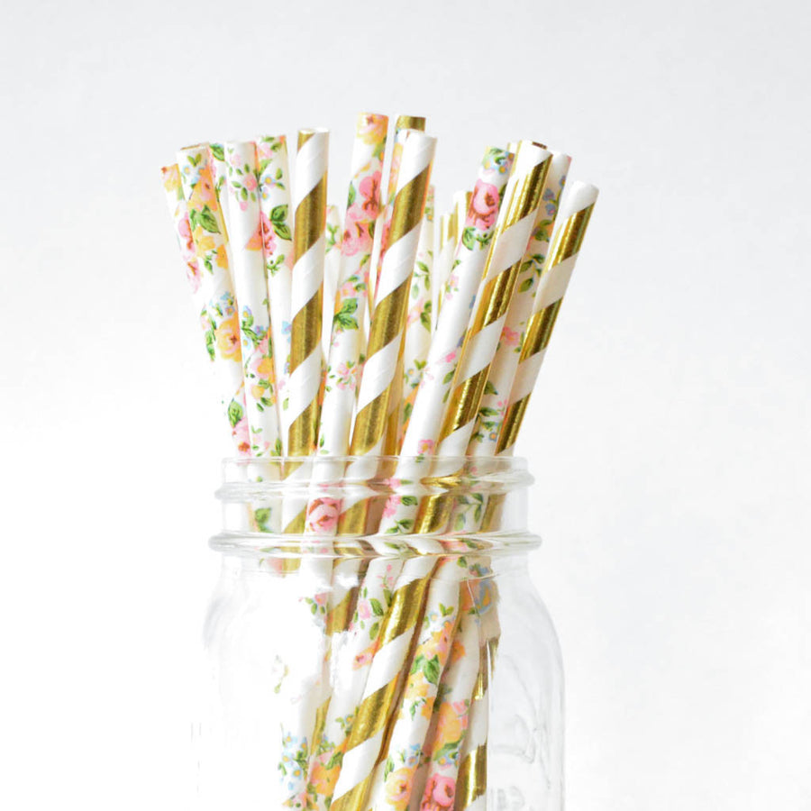 gold and floral straws