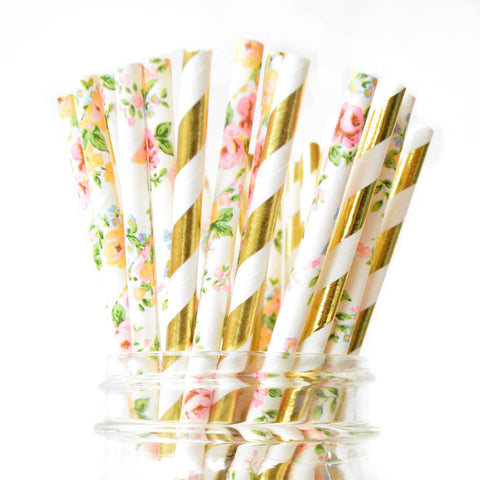 floral and gold straws