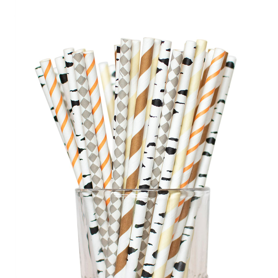 Woodland baby shower straws