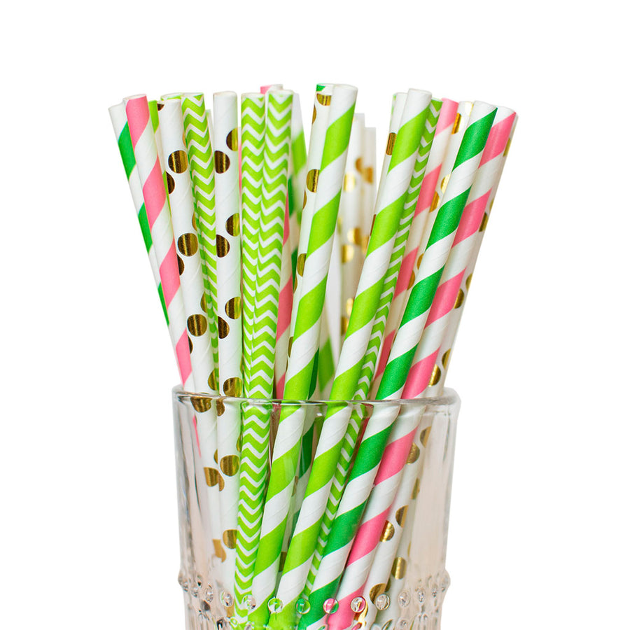 lime green pink straws