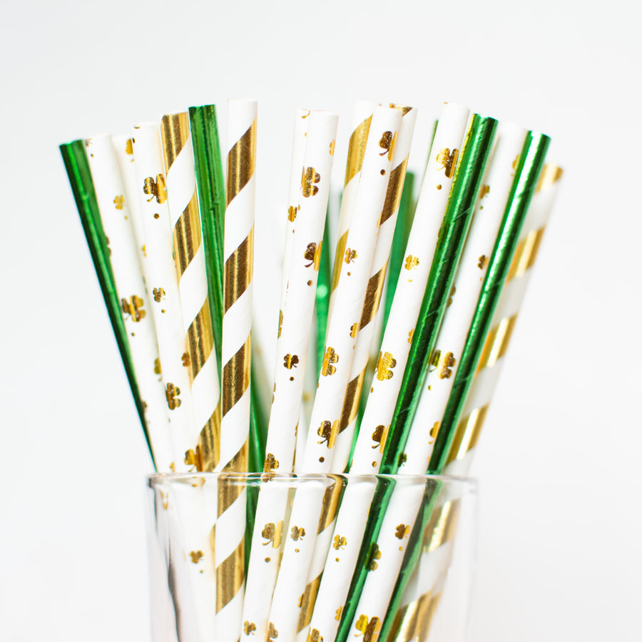 gold and green st. patrick's day straws