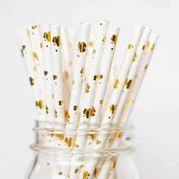 gold shamrock straws