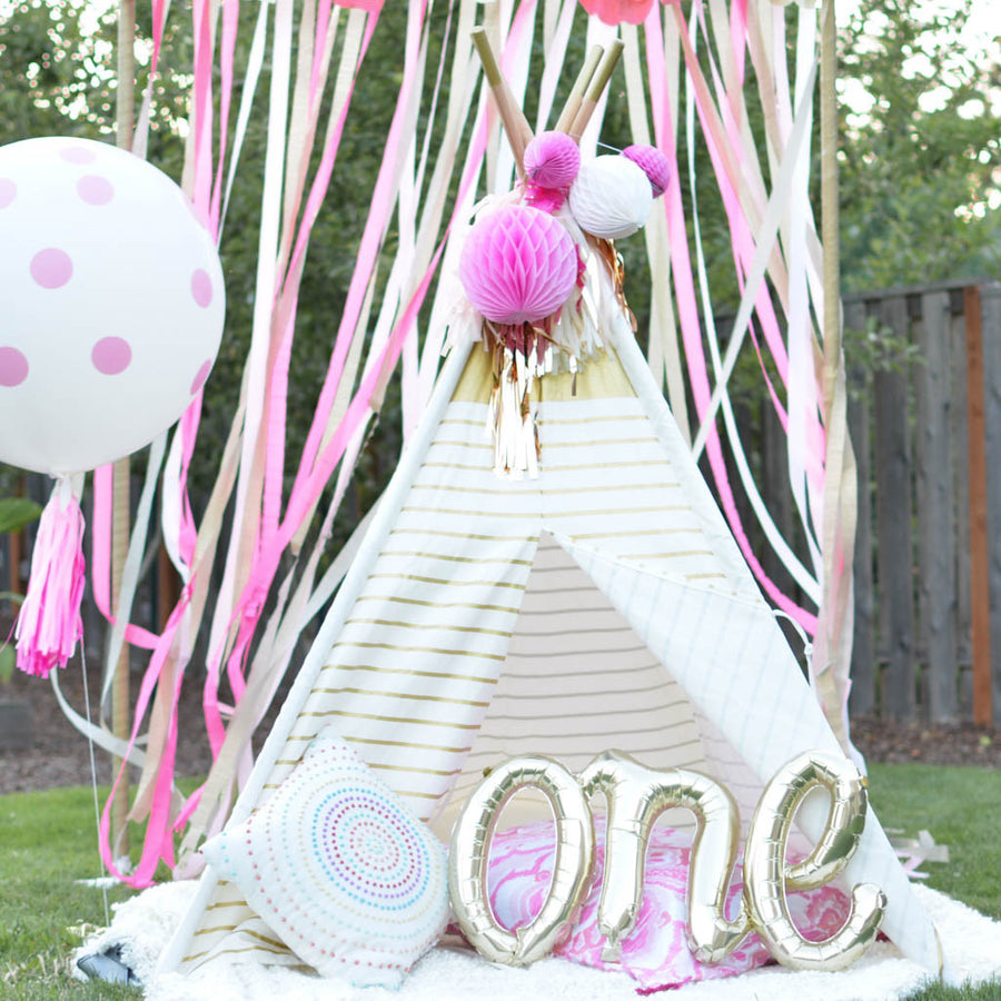 tepee with streamers