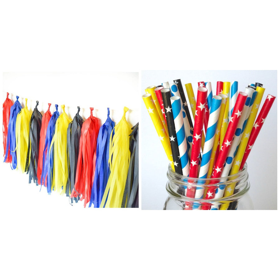 Max Superhero Birthday Party Star Straws