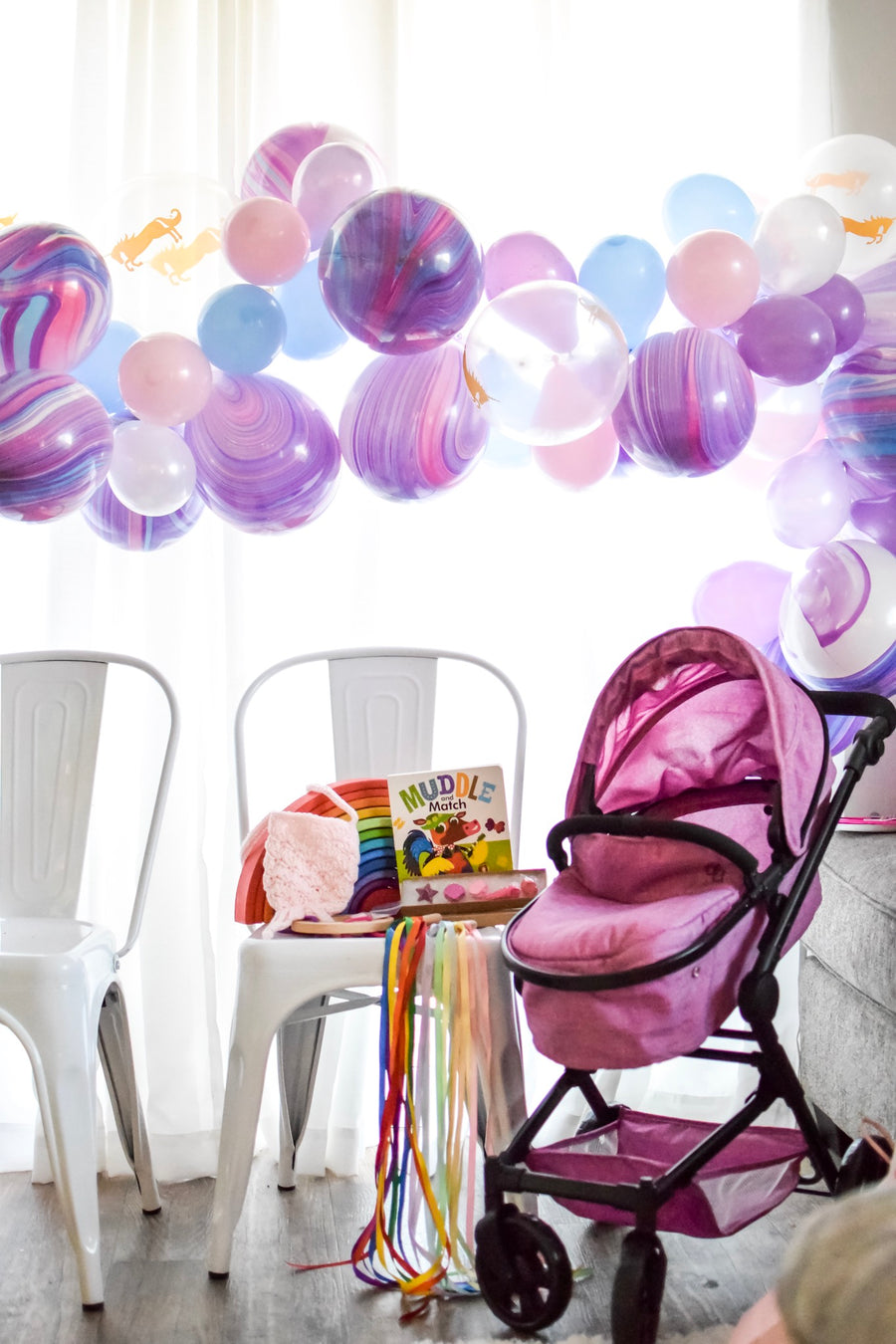 purple balloon arch