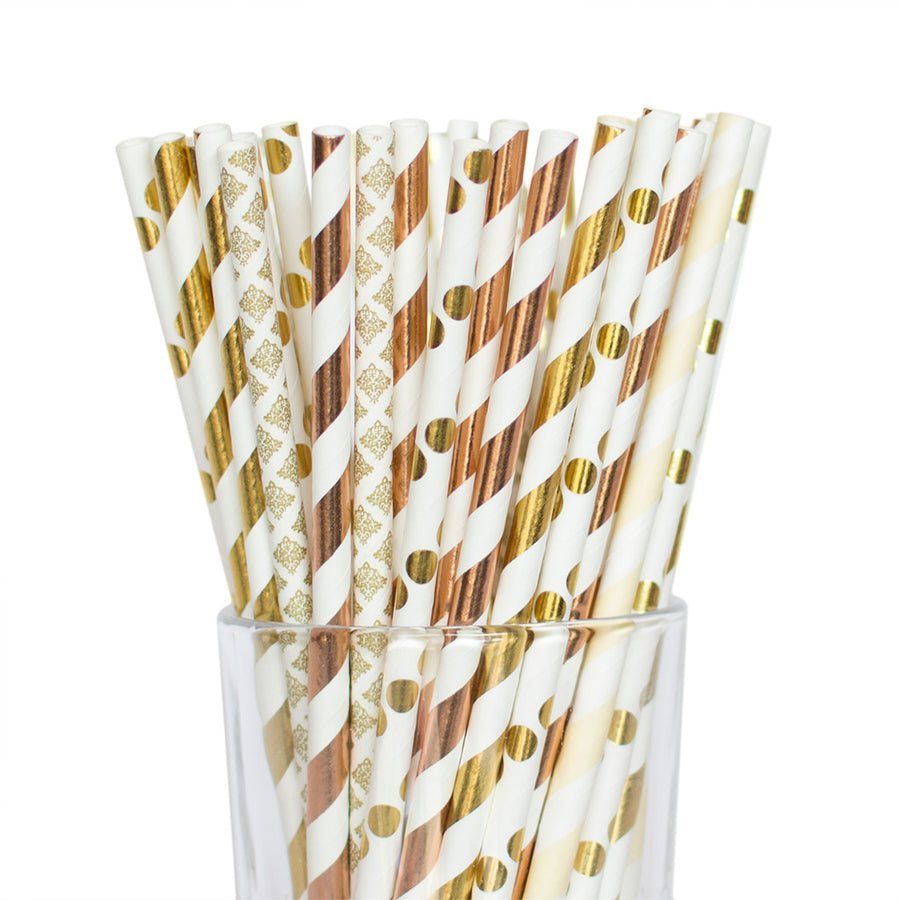 Gold and Rose Gold Polkadot, Striped, and Harlequin Straws