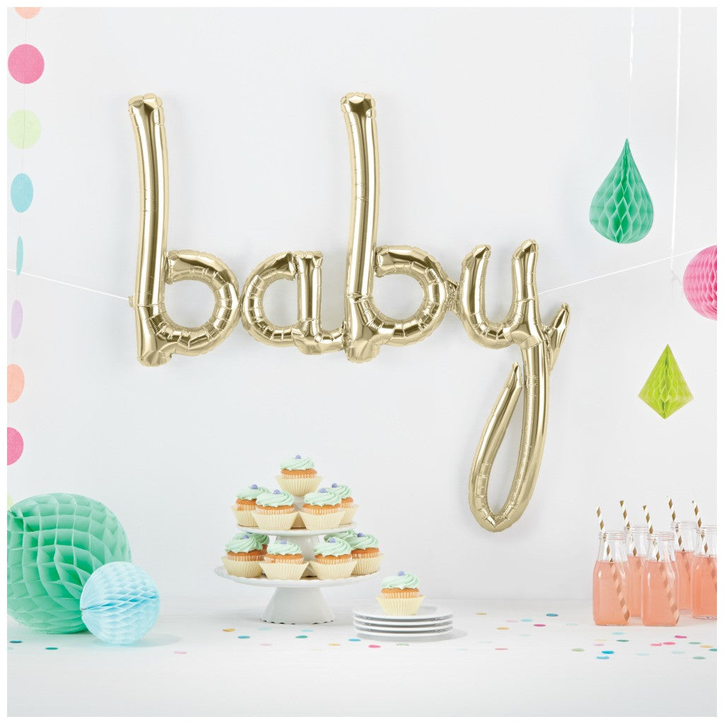 white gold baby balloon