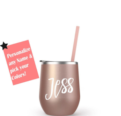 Custom Stainless Steel wine tumbler with Straw