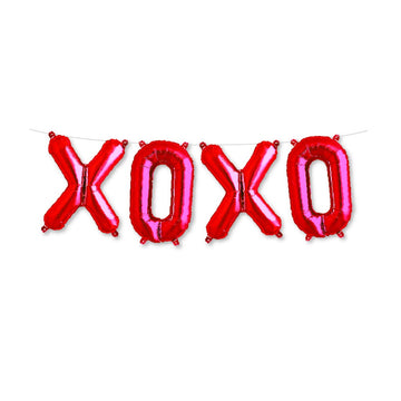 red XOXO balloons